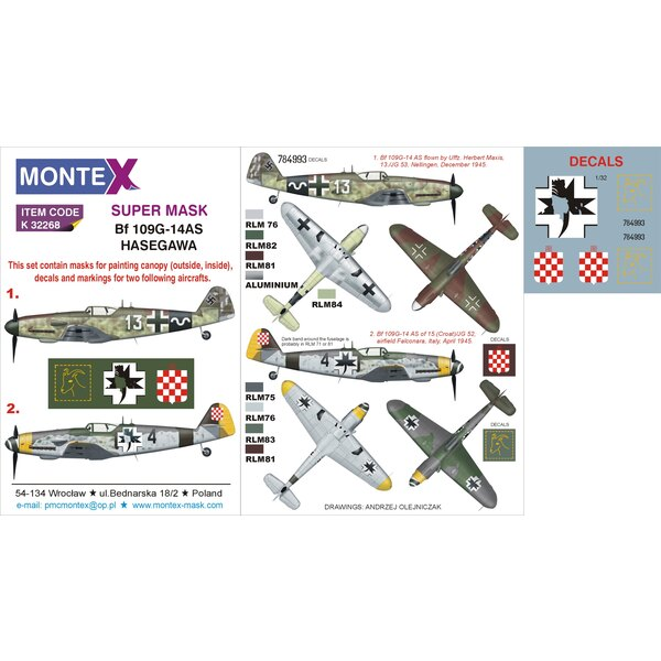 Messerschmitt Bf 109G-14AS 2 canopy mask (exterior and interior) + 2 insignia masks + decals (designed to be used with HASEGAWA