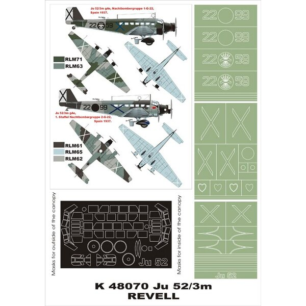 Junkers Ju 52/3M 2 canopy mask (exterior and interior) + 3 insignia masks (designed to be used with Revell kits)