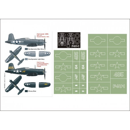 Vought F4U-1 Corsair 2 canopy mask (exterior and interior) + 2 insignia masks (designed to be used with Tamiya kits)