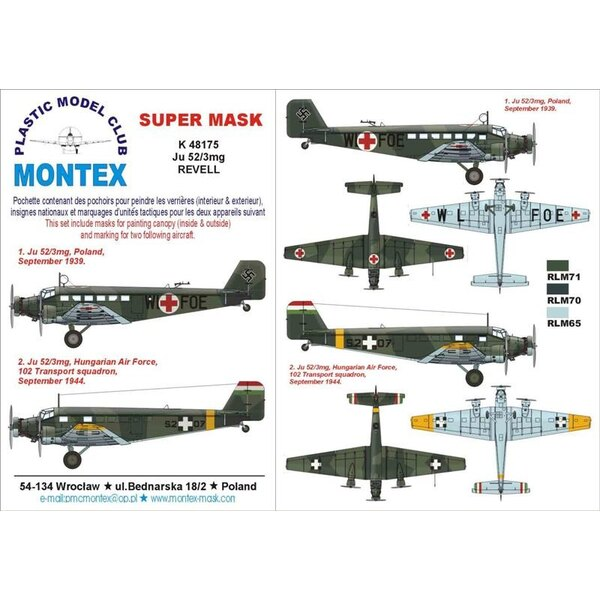 Junkers Ju 52/3M 2 canopy mask (exterior and interior) + 4 insignia masks (designed to be used with Revell kits)