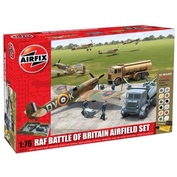 Kit aérodrome de la RAF - Bataille d'Angleterre. Inclut 12 peintures acryliques, 2 Pinceaux et 1 tube de colle.