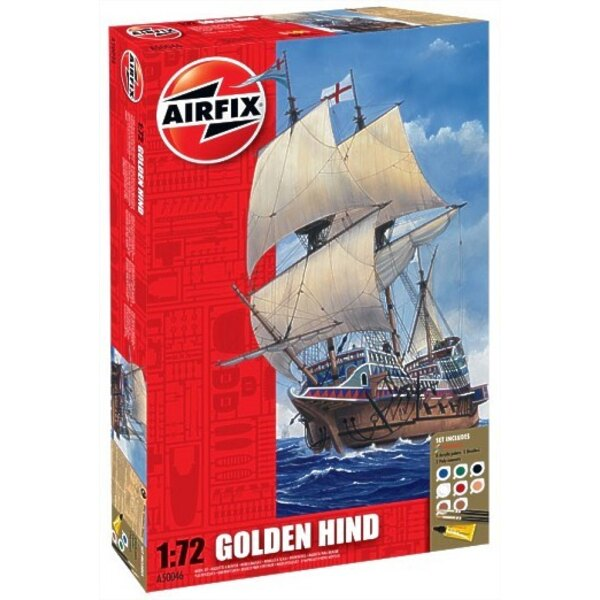 Golden Hind. Set includes 8 Acrylic paints 2 Brushes and 2 Poly cements.
