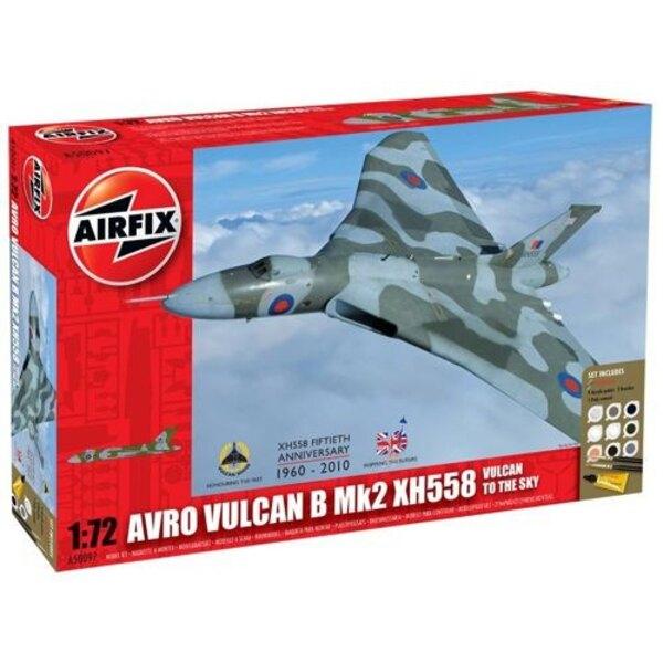 Avro Vulcan to the sky - Avro Vulcan Mk.2 XH558. Le coffret inclut 9 peintures acryliques, 2 Pinceaux et 1 tube de colle.