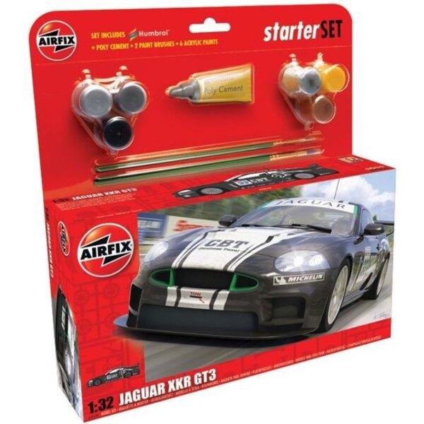 Jaguar XKR GT3. Set includes Poly Cement 2 Paint Brushes and 6 Acrylic Paints.