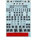 Luftwaffe Swastikas. Various styles including solid outline and stencil in white black and grey. Also includes pre-war style on
