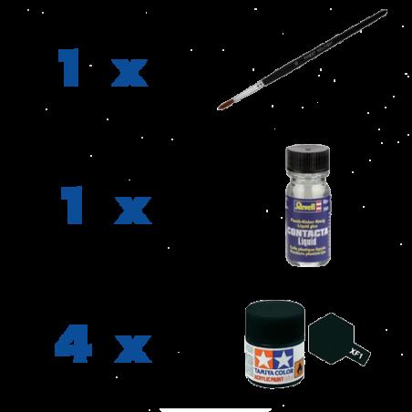 Accessoire Set (4 ausgesuchte Farben, Pinsel, Klebstoff)