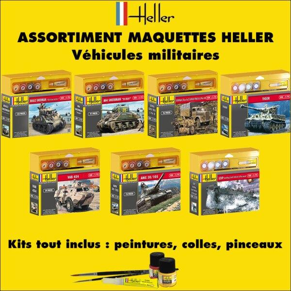 Heller - 20VM - ASSORTIMENT 20 MAQUETTES DE VEHICULES MILITAIRES
