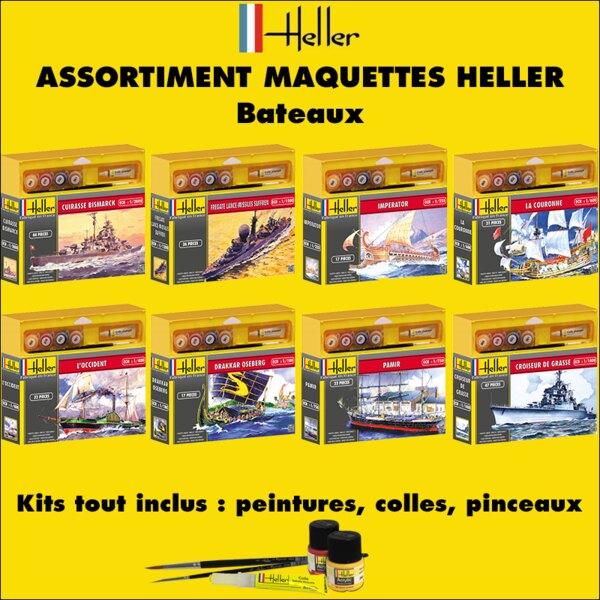 Heller -20bateaux - ASSORTIMENT 20 MAQUETTES DE BATEAUX