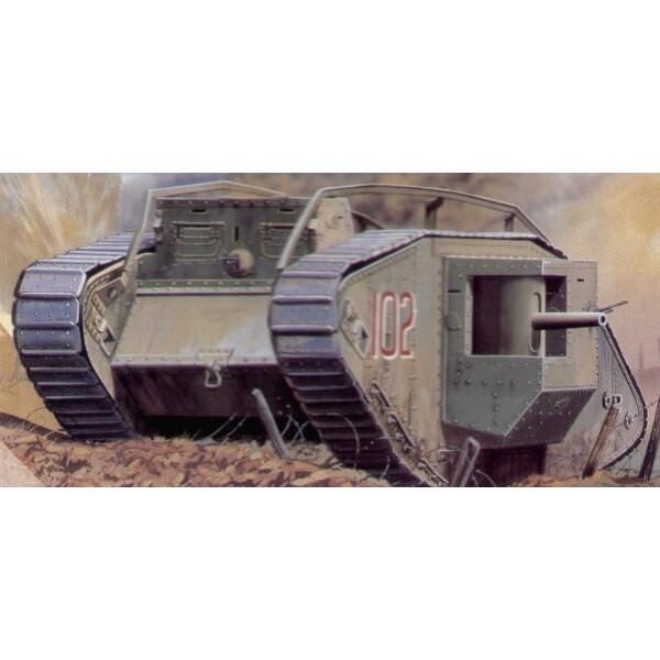 """Char lourd Mk IV de 1ère GM """"Mâle"""" ; décalques britanniques / capturé par les allemands"""