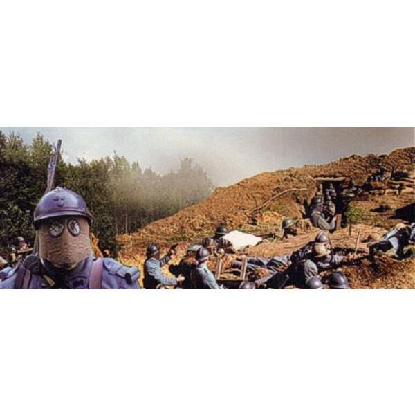 Infanterie française de la 1ère GM avec masques à gaz