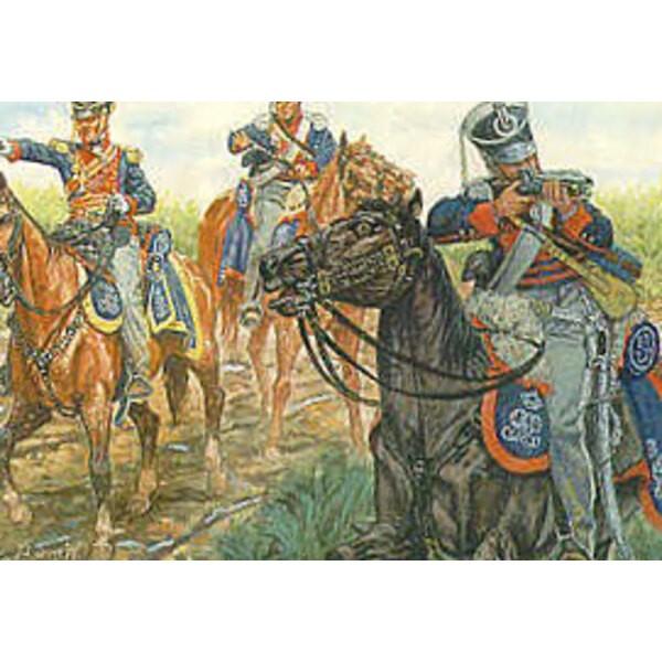 Dragons légers allemands du roi. 12 figurines montées aussi utilisables comme les light Dragoons britanniques.