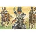 grenadiers à cheval français napoléoniens. 12 figurines montées avec peaux d'ours.