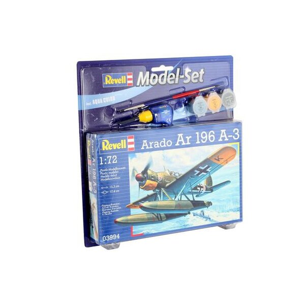 Arado Ar 196 A3 Model Set - coffret contenant la maquette, les peintures, pinceau et colle