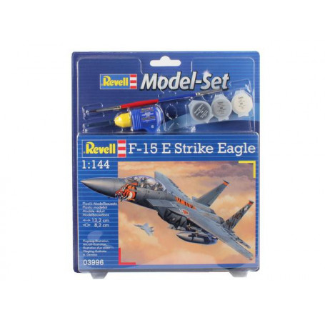 F15E Eagle Model Set - coffret contenant la maquette, les peintures, pinceau et colle