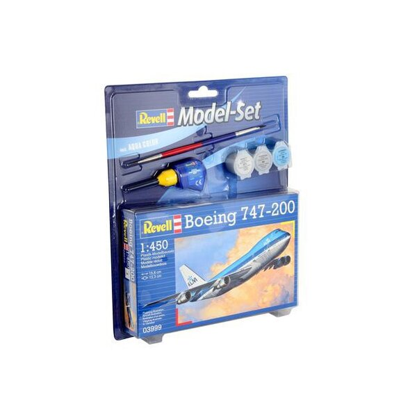Boeing 747-200 Model Set - coffret contenant la maquette, les peintures, pinceau et colle