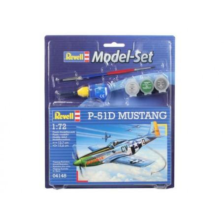 P51D Mustang Model Set - coffret contenant la maquette, les peintures, pinceau et colle
