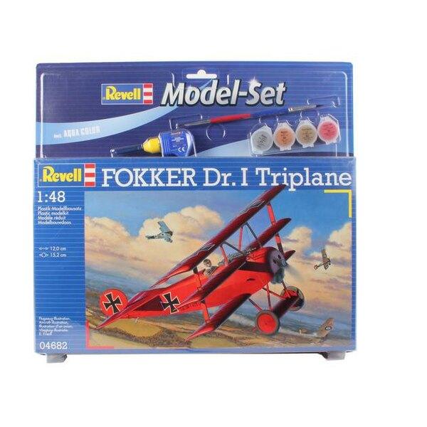 Fokker Dr.I Triplan Set - coffret contenant la maquette, les peintures, pinceau et colle