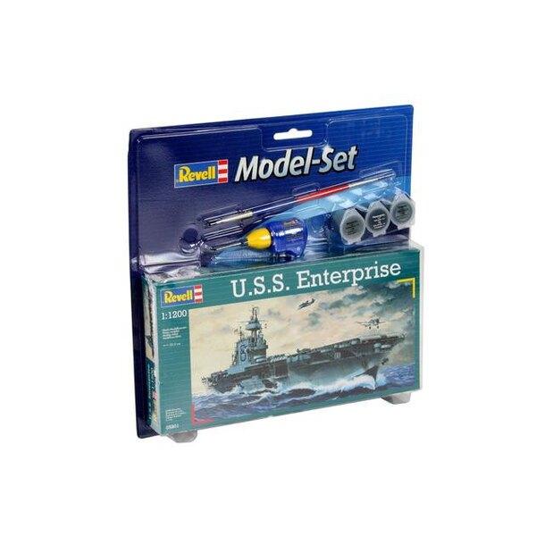USS Enterprise Model Set - coffret contenant la maquette, les peintures, pinceau et colle