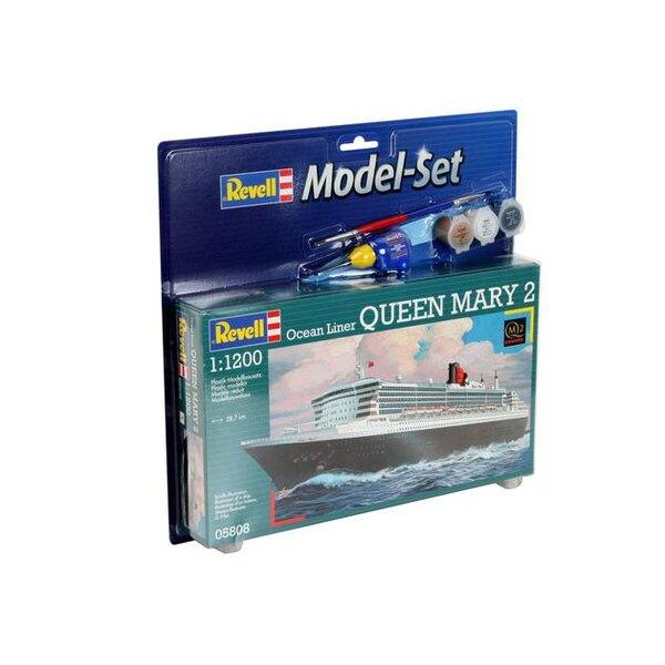 Queen Mary 2 Model Set - coffret contenant la maquette, les peintures, pinceau et colle