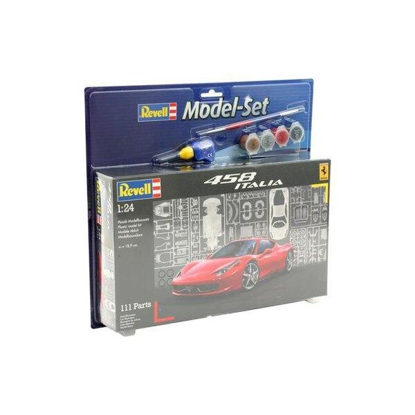 Ferrari 458 Italia Set - coffret contenant la maquette, les peintures, pinceau et colle