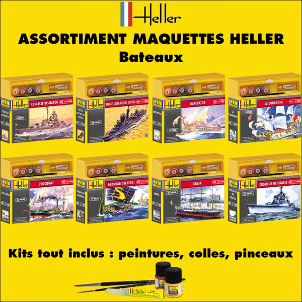 Assortiment HELLER 50 maquettes - Bateaux