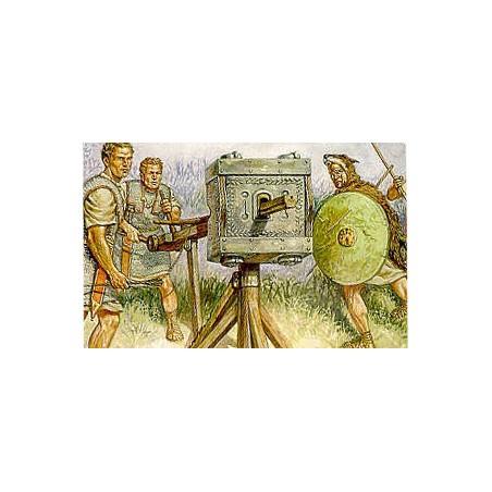 Catapultes romaines. 16 Hastati 16 Velites 12 équipages de Catapulte 4 drapeaux/cornes de Romains