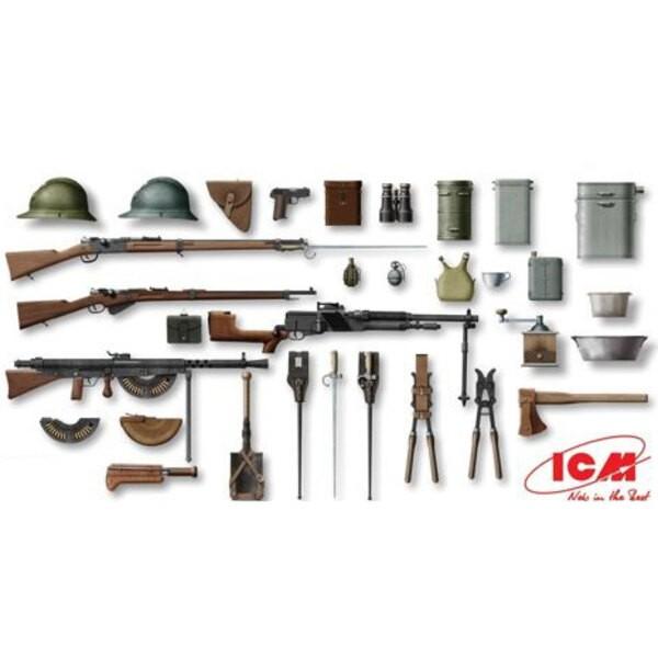 WWI francesa Infantería de armas y equipo