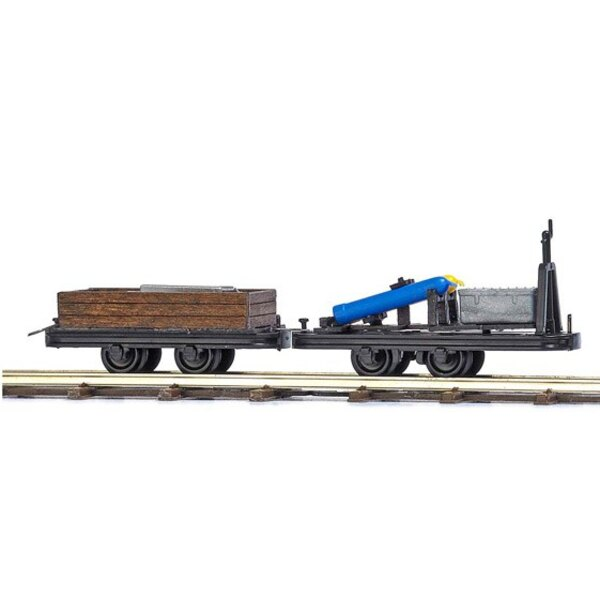2 flat cars loaded with
