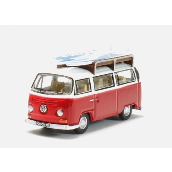 VW VAN BAY WINDOW RED / WHITE WITH BOARD