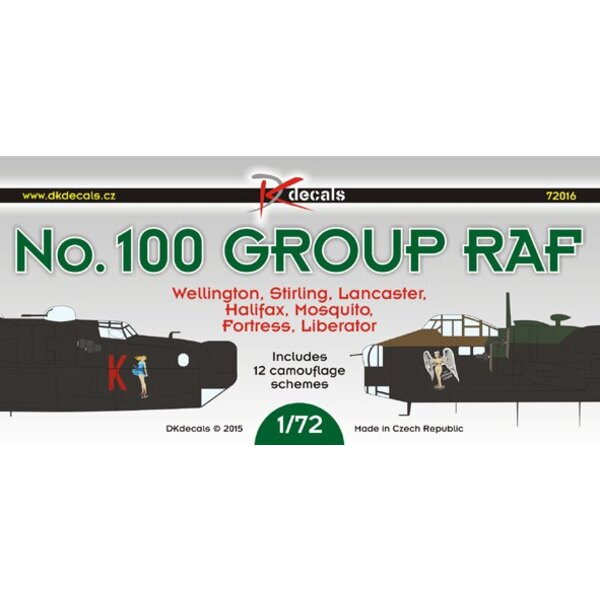 Décal No.100 Groupe RAF: Vickers Wellington, Court Stirling, Avro Lancaster, de Havilland Mosquito, Handley-page Halifax, Forter