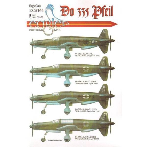 Décal Dornier Do 335Do 335A-02, VG + PH, W. Nr.240102, Décembre 1945Do 335A-0, W. Nr.240105, München-Riem, Avril 1945Do 335A