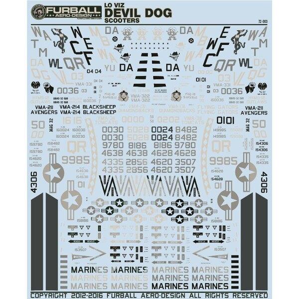 Décal Low Viz Diable Dog Scooters' est une échelle vers le bas de la feuille 1/48 échelle très populaire.Cette fiche comprend d