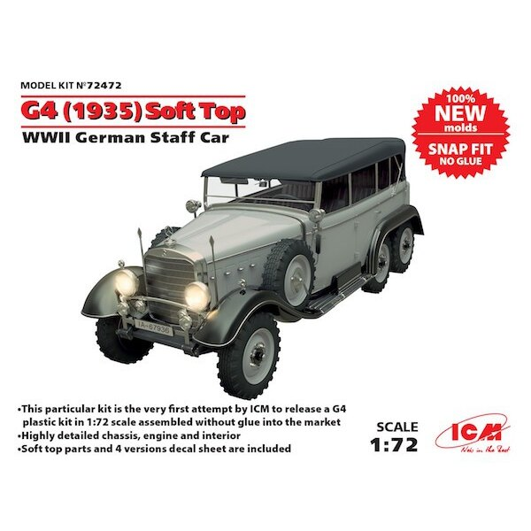 G4 (1935 production) Soft Top, WWII German Staff Car, snap fit/no glue