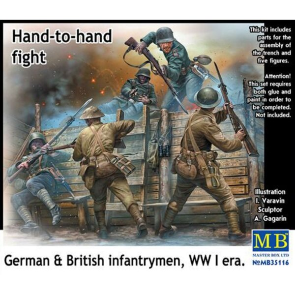 Hand to Hand Fight, German and British Infantrymen, WWI