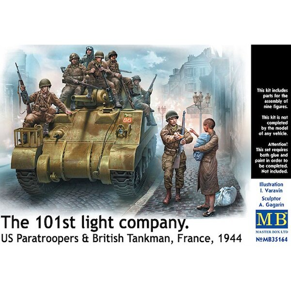 The 101st light company. 7 x US Paratroopers, 1 x British Tankman and 1 x civilian woman carrying a baby