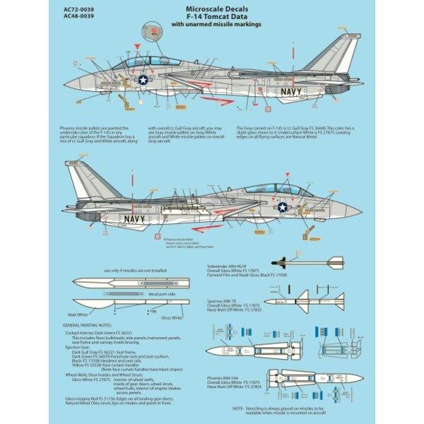 Décal Fiche Grumman F-14 Tomcat données: Contient Un-armé de missiles Marquages [F-14A F-14B F-14C F-14D]