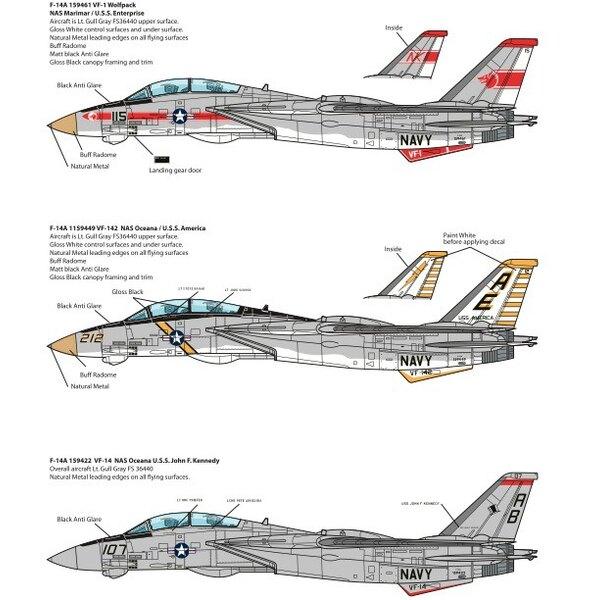 Décal Grumman F-14A Tomcats.Cet ensemble comprend VF-1, VF-14 et VF-142 décorations.Le F-14 a été initialement équipé de deux