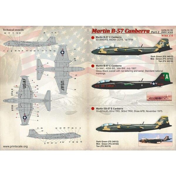 Décal Martin B-57 Canberra Part-1