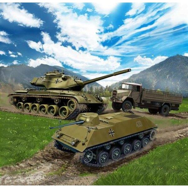 Véhicules de la Bundeswehr.- 2 x M47 Patton combat principal Tanks- 2 x HS 30 blindé Carriers- 2 x Emma 5t gl Camions- Très fac