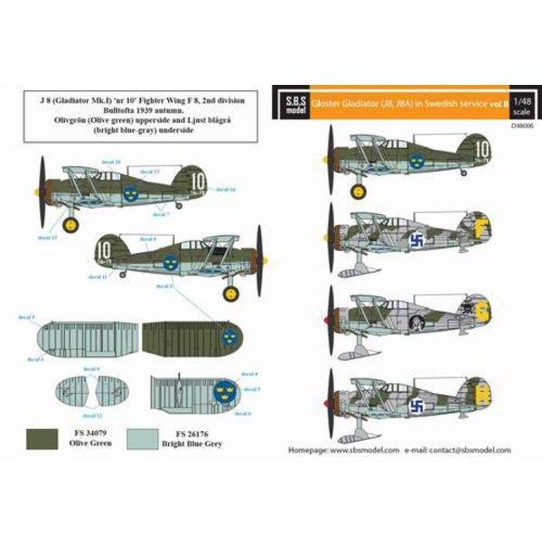 Décal Gloster Gladiator en service suédois Vol.II