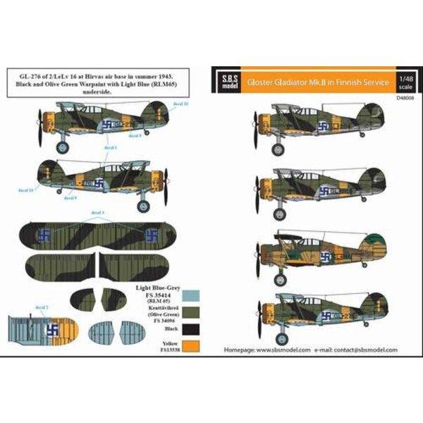 Décal feuille de décalcomanie Gloster Gladiator Force aérienne finnoise Seconde Guerre mondiale