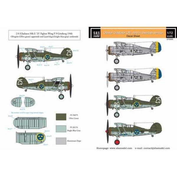Décal Gloster Gladiator en service suédois Vol.I