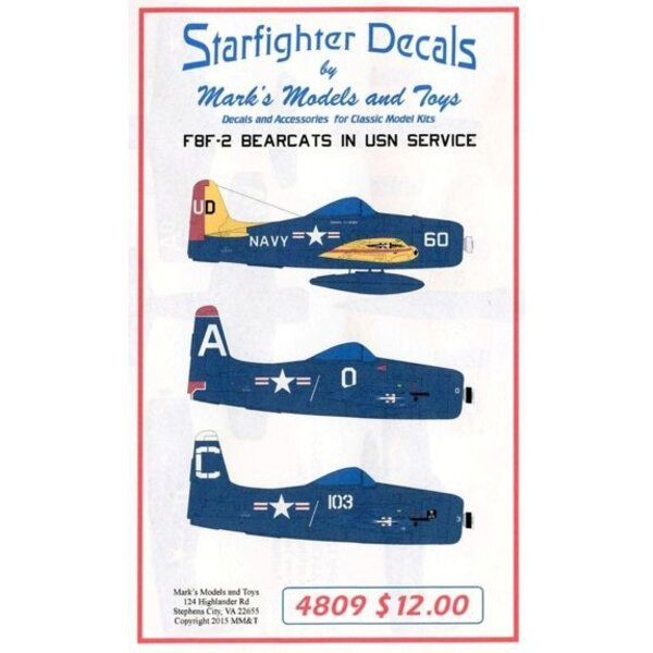 Décal grumman Bearcats Partie 2 F8F-2.Marquages pour 4 avions: F8F-2D NAAS Chincoteague - F8F-2 VF-152 CAG 1949 - F8F-2 VF-19