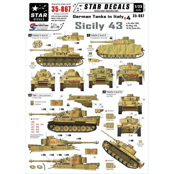 Los tanques alemanes en Italia # 4 - Sicilia 43. s.Pz.Abt.504, 15 Pz.Gren.Div, Pz.Div.HG.Pz.Kpfw.IV Ausf.G y H, Pz.Kpfw.VI Tig