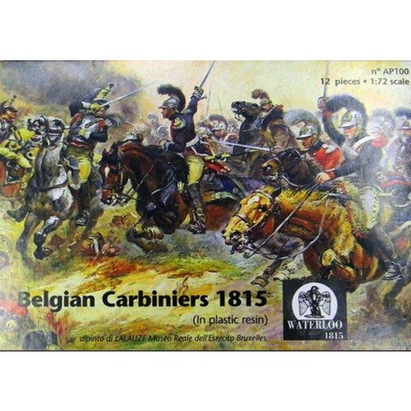 Carabiniers belges 1815 6 chevaux - 6 cavaliers (ceux-ci sont en résine et non en plastique métal)