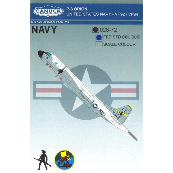 USN Lockheed P-3C Orion (FEDERAL STTANDARD) United States Navy P-3 Orion Conçu pour le kit Hasegawa P3 Orion, cet ensemble de dé