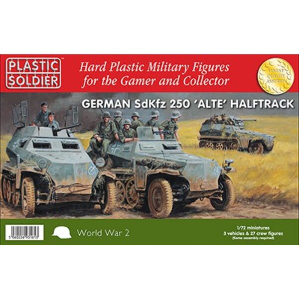 German Sd.Kfz.250 alte Halftrack with Variants Kit. This kit contains 3 x 250 Halftrack and 27 crew figures. Each sprue has opti