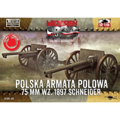 Polonais Champ Cannon 75mm Schneider (2 dans une boîte)