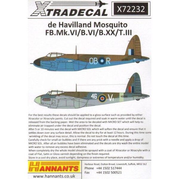 Décal de Havilland Mosquito T Mk.III, B Mk.IV, FB Mk.VI, B Mk.XX (13) Mosquito T.Mk.III TV970 FK-V20 Esc RA Wittering 1946 - T.3