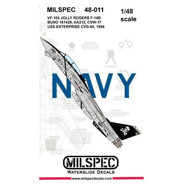 Décal Grumman F-14A Tomcat VF-103 JOLLY ROGERS 1981 USS Nimitz